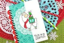 "Llama Delivery Stamp Set / Send a special delivery this holiday season with this adorable llama! The ""Fa-la-la-la-llama"" and ""special delivery"" sentiments pair perfectly with the image."