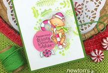 Newton's Candy Cane - Cat Christmas Stamp Set / This delightful little set features our kitty, Newton, hugging a giant Candy Cane along with some yummy peppermint candies!