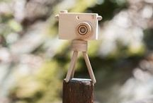 Toy Camera with Tripod / Wooden Toy Camera with Mini Photographic Tripod