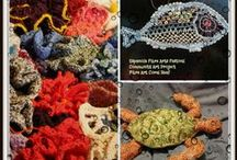 Community Art Project - Fibre Art Coral Reef 2015 / A collection of photos of various elements that created our coral reef