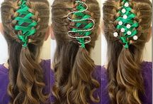 Christmas Hairstyles / Great Christmas braids and hairstyles for girls and women - there's something perfect for all ages!  From short to long hair, there's a festive hairstyle for you!