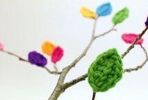 Handarbeit - Blätter besticken umhäkeln oder stricken / auf Blätter sticken oder häkeln