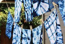 Färben - Shibori und dip dye / Knoten und färben, Indigo