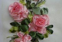 broderies fleurs ruban, silk ribbon embroideries, Bordados a las cintas