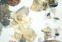 Abstract flowers / Obrazy w dużych formatach, w kolorach pastelowych, złoto...