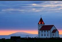 Churches in Iceland / In Iceland you will find small old charming churches in almost every village. In the larger town and cities there are some more modern ones, but we really like the old style.