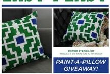 Giveaways, Sales, News / A board all about Paint-A-Pillow giveaways, sales information, and press!