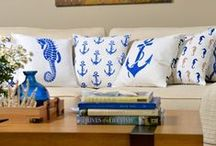 Nautical Inspired Pillows / Create eye-catching DIY stenciled pillows with our beach inspired designs for the instant coastal look you've been craving. Lots of beautiful nautical designs to choose from!