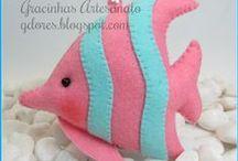 fish / felt in crochet in textil