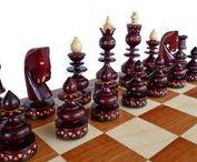 Beautiful wooden chess set