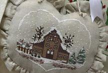 Tombe la neige. / Hiver,points comptés  paysages  idées de finitions.