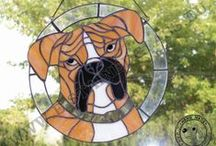 stained glass dogs
