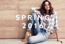 Spring 2016 / Spring is here! Time to set sail with styles like casual shirting, cool blue denim and transitional tees, while wide leg jeans and striped bodycon styles add a sailor-chic, nautical twist. Our spring collection combines feminine day-to-night looks with breezy folk blouses, flowing maxi lengths and fluid silhouettes. Stripes, denim and rompers are also key pieces featured in cool shades of blue, white and soft pastels.