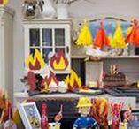 """Feuerwehrmann SAM Party / """"Feuerwehrmann Sam"""" kommt und überrascht die Kids bei einer supercoolen Party! Ob zum Geburtstag oder einfach so, mit Feuerwehrmann Sam wird die Kinderparty garantiert zum Erfolg! Rezepte, Deko und DIY-Ideen müssen da natürlich farblich passen."""