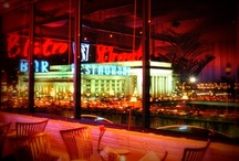 Nightlife / Bistro St. Tropez's artful interior at night.  Our location brings us views of the city skyline, including the Philadelphia Art Museum, the Schuylkill River, and 30th Street Station.  Join us for an evening of elegance.