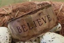 Mixed Media Christian Bracelets / Faith Based Mixed Media & Silk Ribbon Cuff & Wrap Bracelets, 100% Lead-Free Pewter Bangle Bracelets, & Hand-Stamped/Hammered Brass Cuff Bracelets