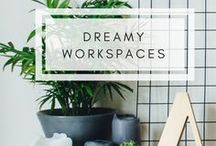 Dreamy Workspaces / Inspiration for creating your dream workspace at home and tips for organising and your office work area. Workspace inspiration, workspace ideas, dream workspace, desk decor, desk organisation, workstation home, work from home, pretty workspace, how to create a workspace, creative workspace, home office ideas, home office decor, desk decor.