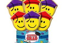 Graduation Decorated Cookie Bouquets/Gifts / They grow up so fast! Let them know that they are One Smart Cookie with our Graduation-themed cookie gifts  https://www.corsoscookies.com/holiday-seasonal-cookie-gifts/graduation-cookie-gifts.html
