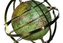 old celestial & terrestrial globes