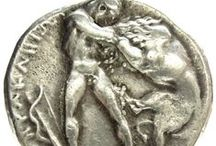 antique greek coins, lions.