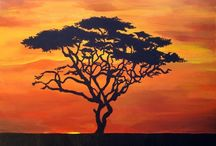 African landscape, animals and sunsets