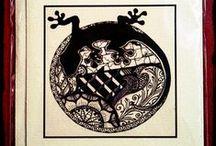 Tangle Falt/Grußkarten von SiebenPfeile / meine gezeichneten Bilder (inspiriert von der Zentangle® Methode) als Druck weiterverarbeitet zu einer Falt/Grußkarte