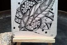 meine zentanglekunst auf Bierdeckeln drawing by SiebenPfeile/StefanieArmbrust
