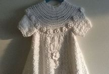 Crocheted christening gowns, christening dresses. Hekla dåpskjoler.