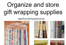 Gift wrapping storage and ideas / Great ways to beautifully wrap gifts and organize wrapping supplies