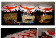 kavanoz örtüleri / fistolu pamuklu komastan hazırlanan kavanoz ürtüleri ve boncuklu lastıkleriyle tasarlandı