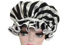 Stripe Shower Caps / Satin Striped Shower Caps by Glam Kapz. Fully lined waterproof large-fitting beautiful Shower Caps.