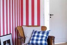 papel pintado de rayas / papel pintado con rayas anchas, estrechas.....nos encantan las paredes de rayas decoradas con papeles pintados
