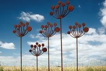 Garden Sculpture / Garden Art - Seed Heads / Contemporary metal garden sculptures and garden art inspired by seed heads of the Cow Parsley and Poppy plants.