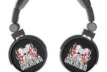 DJ Style Headphones / DJ Style Headphones - Feel the power of the music in your head with these custom designed DJ style headphones. Custom printed with designs you will only find right here. Lots of cool looking skulls, pirates, tattoos and more. Have the coolest headphones at the party!