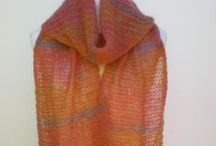 Women's Kid Mohair / Solid and sheer fringed scarves in fine kid mohair by Miss Knitwear