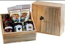 "Gift Boxes / Oregon Growers & Shippers proudly offers your favorite farm direct specialty product presented in our beautiful gift box, sent directly to your family and friends. Our gift boxes are hand-built by a local Columbia River Gorge wood worker, made from beautiful ""blue"" pine wood- making each box one of a kind. Gift sets are available in many varieties that include our fruit spreads, honeys and sauces."