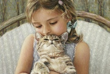 "Cats & Human Friends: Paintings / ""What greater gift than the love of a cat."" ~ Charles Dickens"