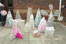 Willow and Paper Lanterns with Tina Allonby / Aspire students at Hurst Festival doing a class on Willow and Paper Lanterns