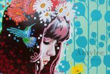 Amylee / Si vous ne la connaissez pas, découvrez ses toiles, son style, son parcours, ses aides précieuses pour artistes sur son blog. Superbe découverte pour moi! et pour vous?