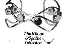 Black Onyx and Opalite / Black Onyx and opalite hand made sterling silver Jewelry.
