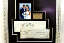 Wedding invitations and bridal flowers frame / Wedding invitation pohot frame