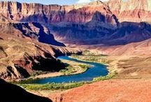 << Rivers - Colorado Basin >> / The Colorado River winds for 1,450 miles from the Rocky Mountains to the Sea of Cortez.  It provides H20 & electricity to 7 U.S. states (AZ, CA, CO, NM, NV, UT, WY) & 2 Mexican states (Sonora, Baja CA Norte).  Its eco-system includes: the Sonoran Desert, Lake Mead and these tributaries - Escalante, Gila, Green, Gunnison, Havasu, Paria, San Juan.  National Parks - Dinosaur, Black Canyon of the Gunnison, Bryce, Canyonlands, Glen Canyon, Grand Canyon, Rocky Mountain, Zion.