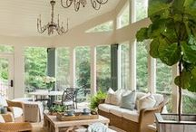 Sunroom / My dream home includes a sun room with a brick fireplaces, lots of big comfy chairs, blankets, and a good book.