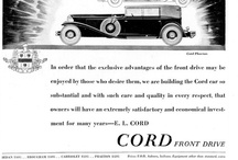 Cord Car Ads / Cord was the brand name of an American automobile company from Connersville IN, manufactured by the Auburn Automobile Company from 1929 -1932 and again in 1936 1937. The Cord Corp was founded and run by E. L. Cord as a holding company for his many transportation interests, including Auburn. Cord was noted for its innovative technology and streamlined designs. Cord had a philosophy to build truly different, innovative cars, believing they would also sell well and turn a profit.