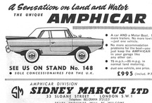 Amphicar Ads / The Amphicar was built in Germany from 1961 to 1968. Total production was 3,878 vehicles. The Amphicar is the only civilian amphibious passenger automobile ever to be mass produced. 3,046 Amphicars were imported into the United States between 1961 and 1967. The Amphicar is rear engined and uses a 4 cylinder British-built Triumph Herald motor producing 43hp. All Amphicars are convertibles, and the civilian models were originally offered in only 4 colors.