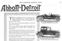 Abbott-Detroit Motor Company Ads / The Abbott-Detroit was an American luxury automobile manufactured between 1909 and 1919. It was considered powerful and well-designed, and had a Continental engine. The cars were guaranteed for life by 1913, when electric lighting and starting had been standardized.