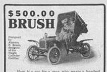 "Brush Motor Co. Ads / Brush Motor Company based in Detroit, Michigan, was founded by Alanson P. Brush who designed a light car with wooden chassis (actually wooden rails and iron cross-members), friction drive transmission and ""underslung"" coil springs in tension instead of compression. Although there were many makes of small runabouts of similar size and one to four cylinders at this time (before the Model T Ford dominated the low-price market), the Brush has many unusual design details"