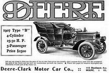 Deere-Clarke Motor Car Ads / The Deere-Clark Motor Car Company existed from 1906-1907 only. By 1905, W.E. Clark of Moline had built two cars that were never put into production for lack of financing. He needed financing to try again and he persuaded the John Deere's company, Deere & Company, to help him. Deere bought the machinery from the defunct Clarkmobile  company of Lansing, MI. and the Deere-Clark Motor Company was formed in January 1906. Clark's first cars were air cooled, but the Deere-Clarks were water cooled.