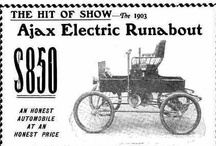 Ajax Electric Car Ads / Ajax 1901-1903; Ajax Motor Vehicle Co. New York, NY. The Simpson brothers made some two-passenger runabouts. The electric motor was an Zeco Magneto enclosed in a dust and water proof case. It was sold for $850 which was around $250 less than a gasoline powered car, with similar performances.