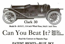 Clark Car Ads / One of the manufacturers to have a longer production period was the Clark models that were first made in Shelbyville, IN, in 1910. The men behind the compay were, John Clark, J. H. Akers, A. J. Thurston, Arthur Woodward. Acting, and acting as general manager was Mauruce Wolfe, whose Wolfe cars had previouly ceased production .